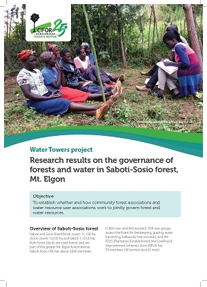 Preliminary research results on the governance of forests and water in Saboti-Sosio forest, Mt. Elgon