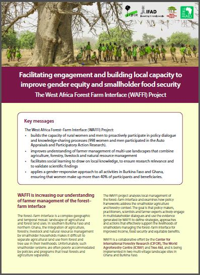Facilitating engagement and building local capacity to improve gender equity and smallholder food security: The West Africa Forest Farm Interface (WAFFI) Project