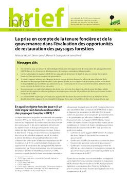La prise en compte de la tenure foncière et de la gouvernance dans l'évaluation des opportunités de restauration des paysages forestiers