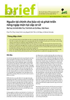Nguồn tài chính cho bảo vệ và phát triển rừng ngập mặn tại cấp cơ sở: Bài học từ tỉnh Bến Tre, Trà Vinh và Cà Mau, Việt Nam