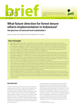 What future direction for forest tenure reform implementation in Indonesia?: Perspectives of national-level stakeholders