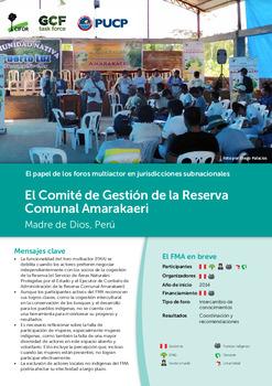 El Comité de Gestión de la Reserva Comunal Amarakaeri: Madre de Dios, Peru