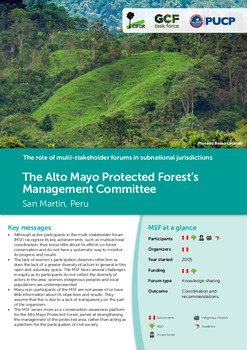 The Alto Mayo Protected Forest's Management Committe: San Martín, Perú