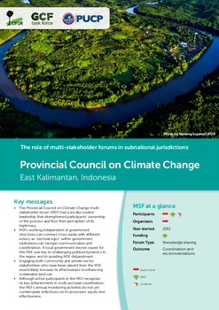 Provincial Council on Climate Change: East Kalimantan, Indonesia