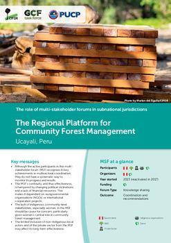 The Regional Platform for Community Forest Management: Ucayali, Peru