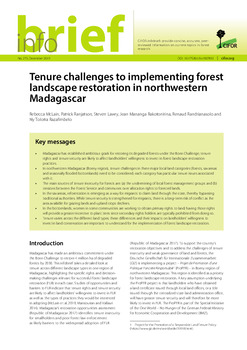 Tenure challenges to implementing forest landscape restoration in northwestern Madagascar