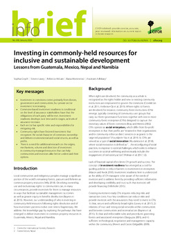 Investing in commonly-held resources for inclusive and sustainable development: Lessons from Guatemala, Mexico, Nepal and Namibia