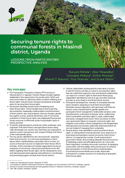 Securing tenure rights to communal forests in Masindi district, Uganda: Lessons from participatory prospective analysis