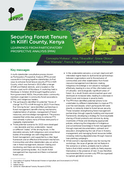 Securing Forest Tenure in Kilifi County, Kenya: Learnings from participatory prospective analysis (PPA)