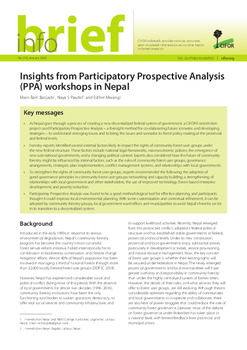 Insights from Participatory Prospective Analysis (PPA) workshops in Nepal