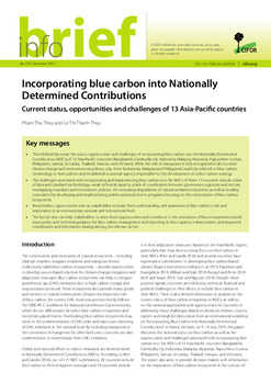 Incorporating blue carbon into Nationally Determined Contributions: Current status, opportunities and challenges of 13 Asia-Pacific countries