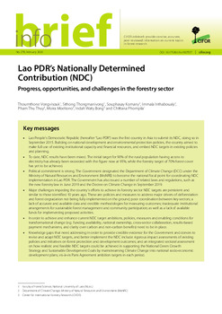 Lao PDR\'s Nationally Determined Contribution (NDC): Progress, opportunities, and challenges in the forestry sector
