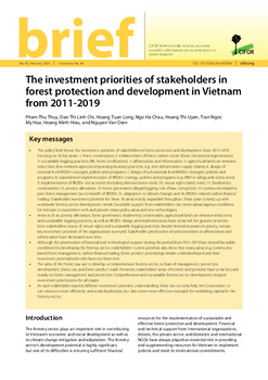 The investment priorities of stakeholders in forest protection and development in Vietnam from 2011-2019