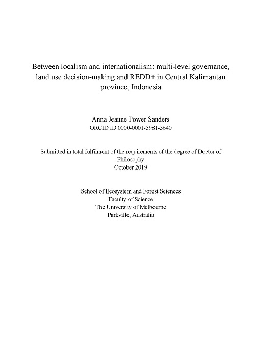 Between localism and internationalism: Multi-level governance, land use decision-making, and REDD+ in Central Kalimantan province, Indonesia