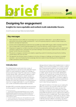 Designing for engagement: Insights for more equitable and resilient multi-stakeholder forums