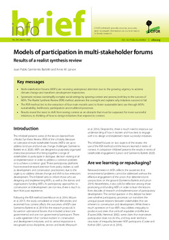 Models of participation in multi-stakeholder forums: Results of a realist synthesis review