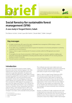 Social forestry for sustainable forest management (SFM): A case study in Tongod District, Sabah