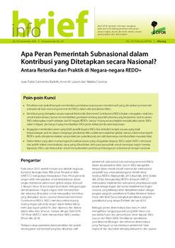 Apa peran pemerintah subnasional dalam Kontribusi yang Ditetapkan Secara Nasional?: Antara retorika dan praktik di negara-negara REDD+