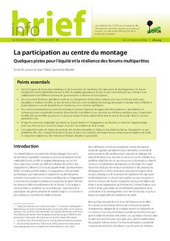 La participation au centre du montage: Quelques pistes pour l'équité et la résilience des forums multipartites