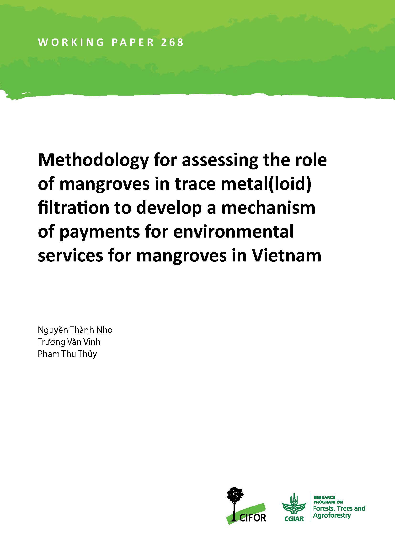 Methodology for assessing the role of mangroves in trace metal(loid) filtration to develop a mechanism of payments for environmental services for mangroves in Vietnam