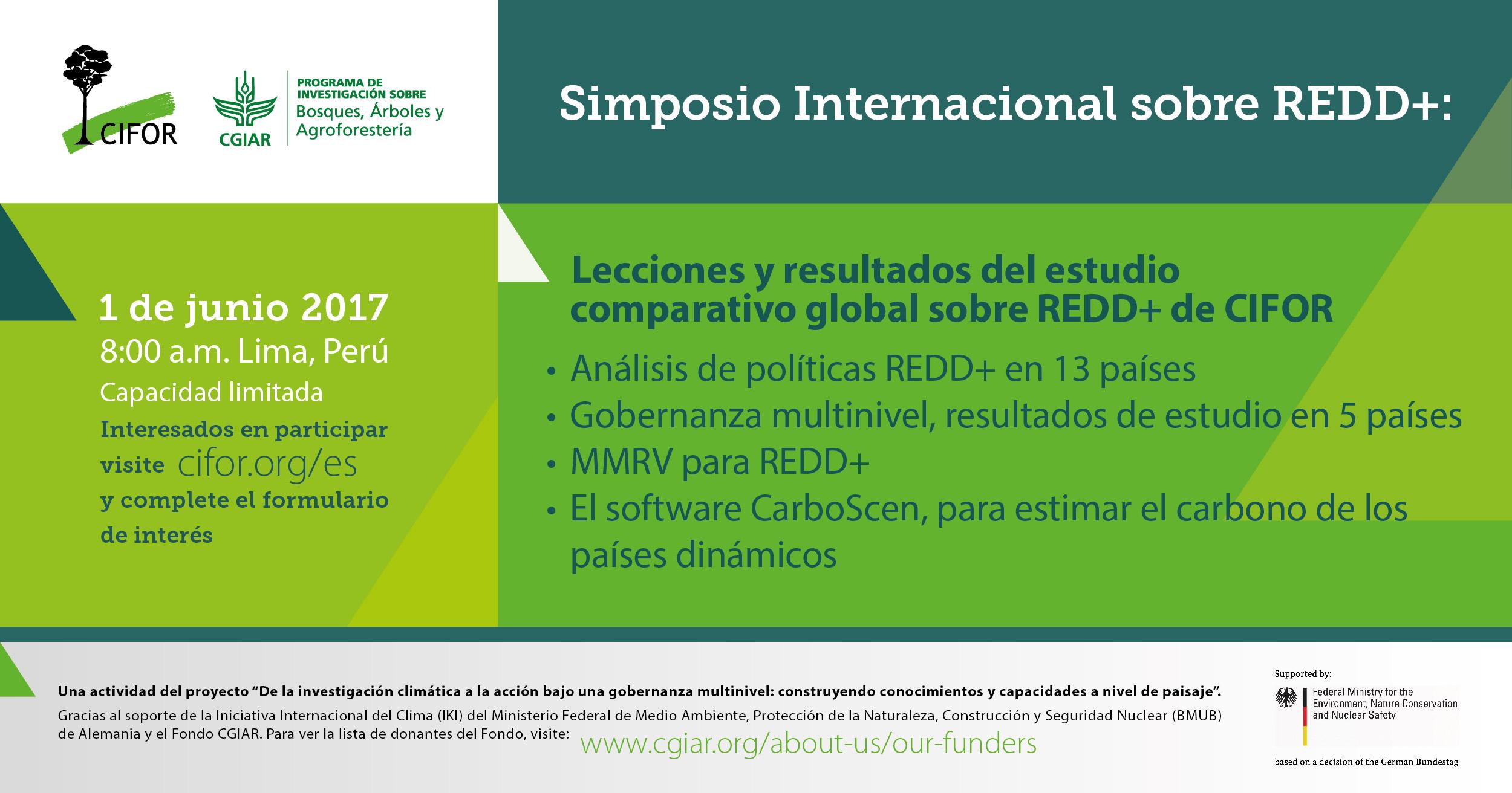 Participe del Simposio Internacional sobre REDD+ de CIFOR en Lima, Perú