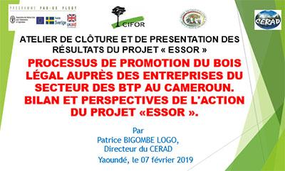 Processus de promotion du bois légal auprès des entreprises du secteur des btp au Cameroun. Bilan et perspectives de l'action du projet «ESSOR».